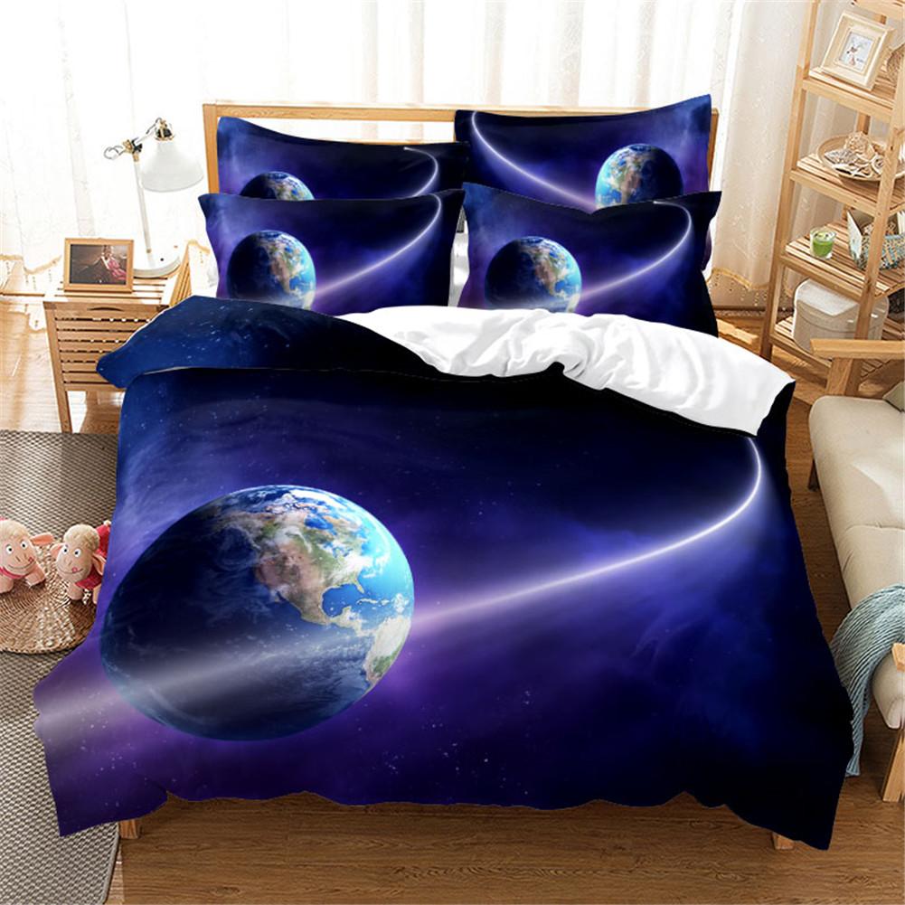 2Pcs/3Pcs Quilt Cover +Pillowcase 3D Digital Printing Starry Series Bedding Set Twin