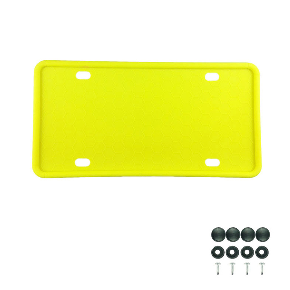 Silicone License Plate Frame License Plate Frames Holders with Drainage Holes for American Car Licenses yellow
