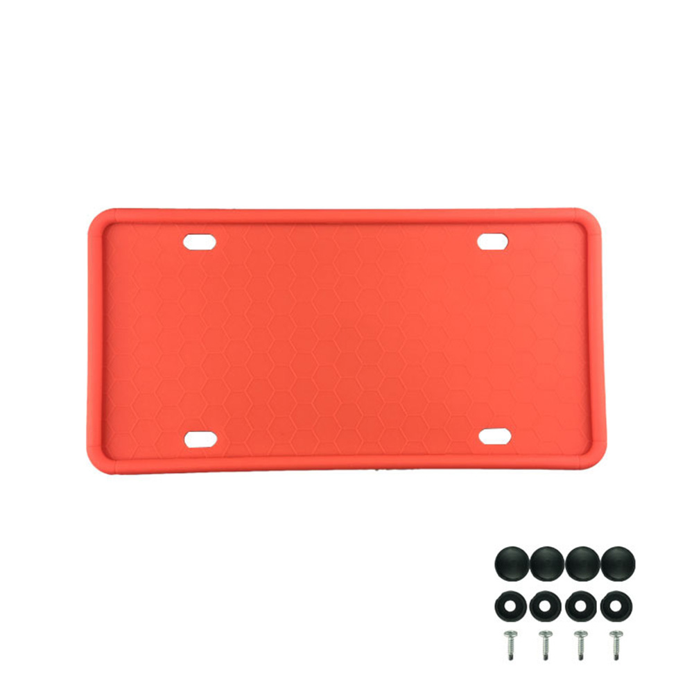 Silicone License Plate Frame License Plate Frames Holders with Drainage Holes for American Car Licenses red