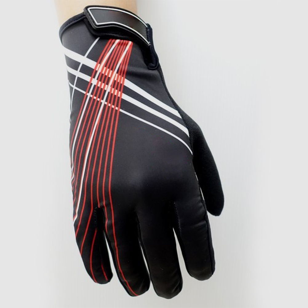 Riding Gloves Antumn Winter Mountain Bike Gloves Touch Screen Bike Gloves Black red line_L