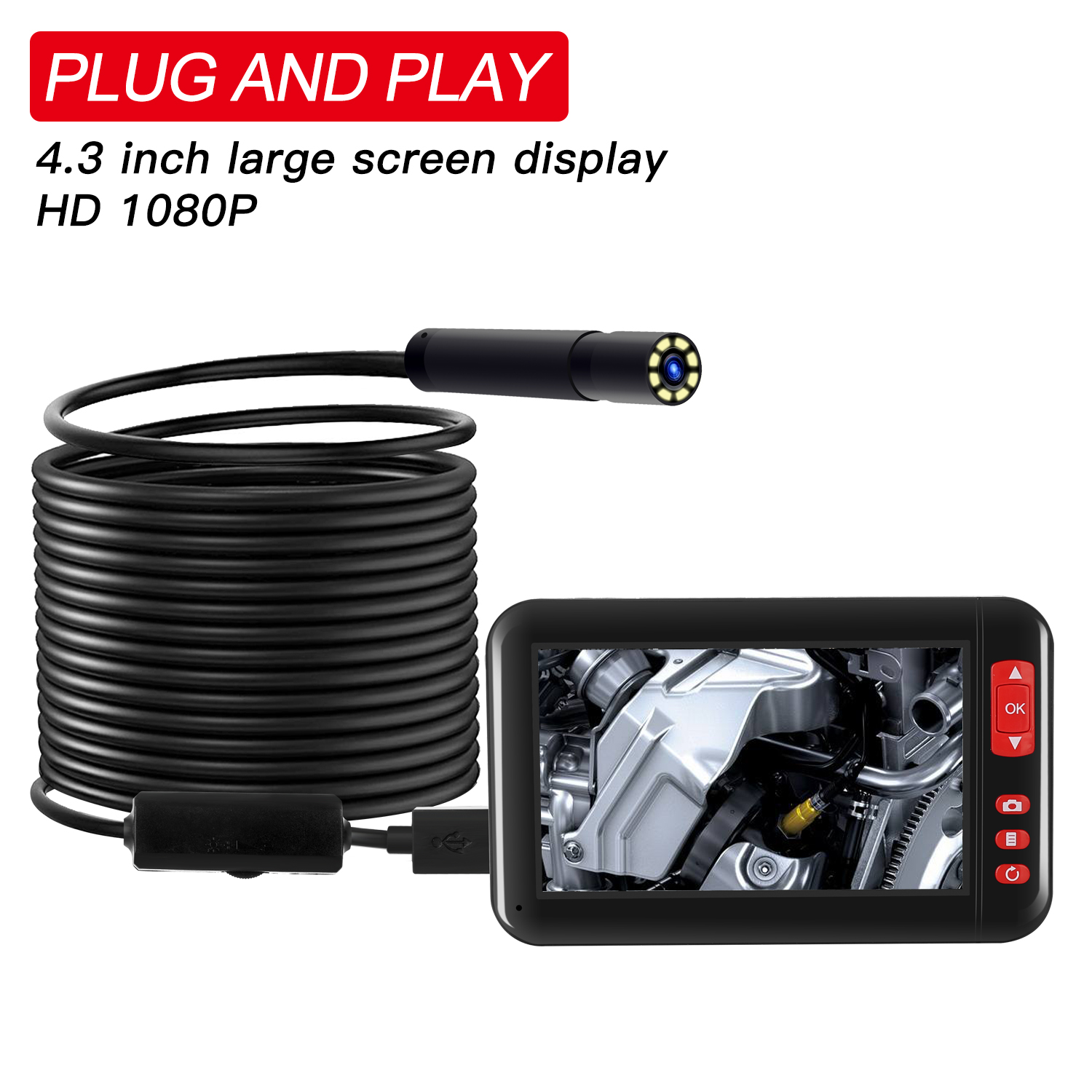 8mm 1080P Endoscope Camera with 4.3 Inch Screen Display 2000mAh 8 LED Light waterproof Inspection Borescope Camera 10 m