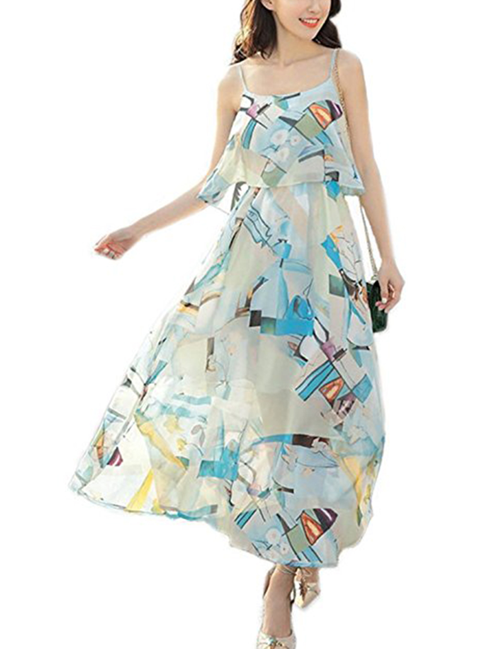 Women Bohemia Style Chiffon Sleeveless Dress