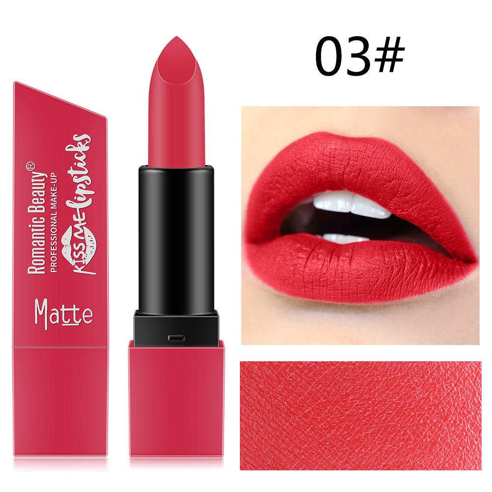 6 Color Matte Lipstick Sexy Shimmer Lipgloss Waterproof Long Lasting Diamond Party Lip Stick 03#