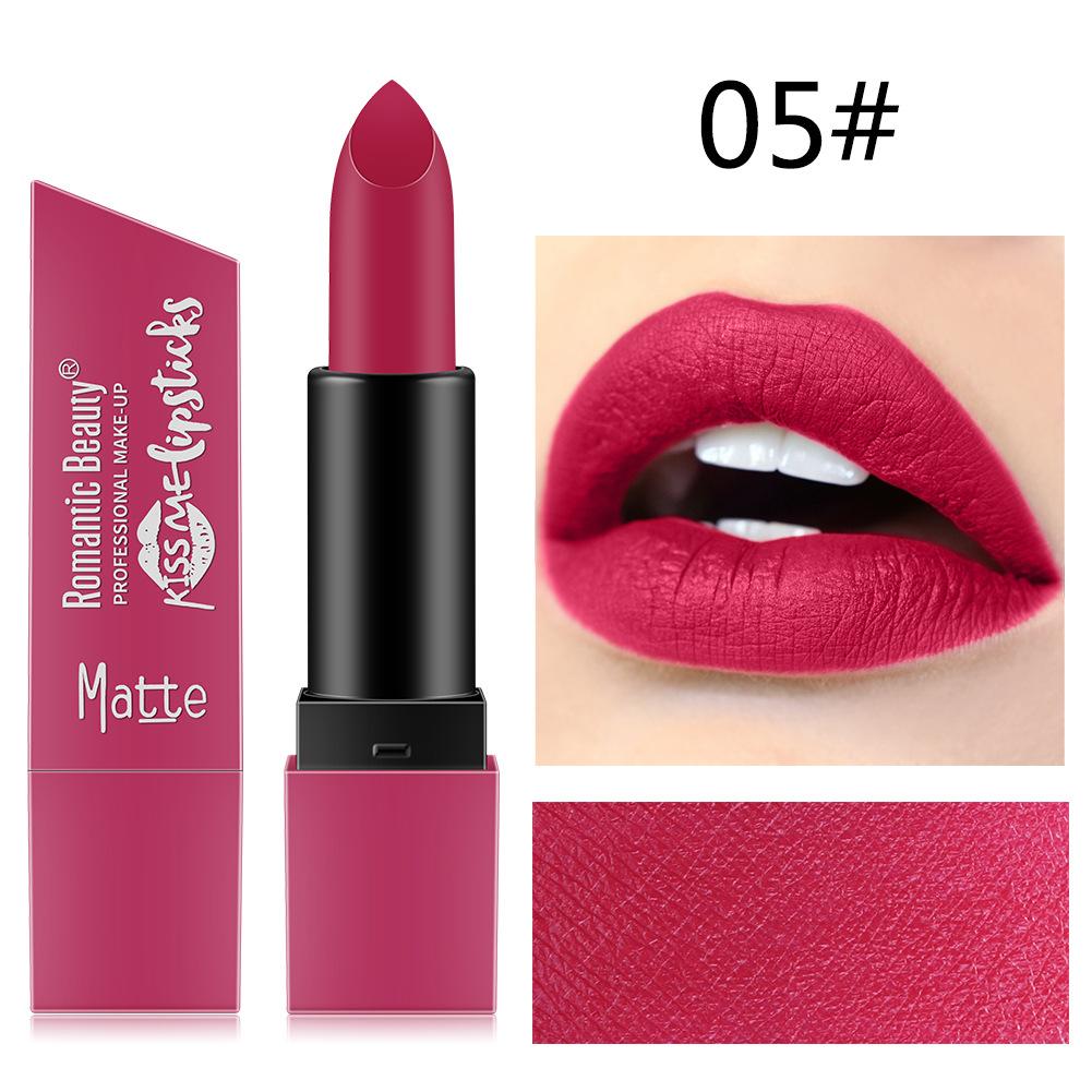 6 Color Matte Lipstick Sexy Shimmer Lipgloss Waterproof Long Lasting Diamond Party Lip Stick 05#