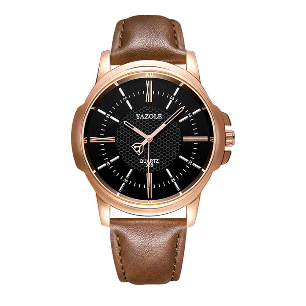 Men Luxury  Business Style Clock Fashion Quartz Watch  Black dial brown belt