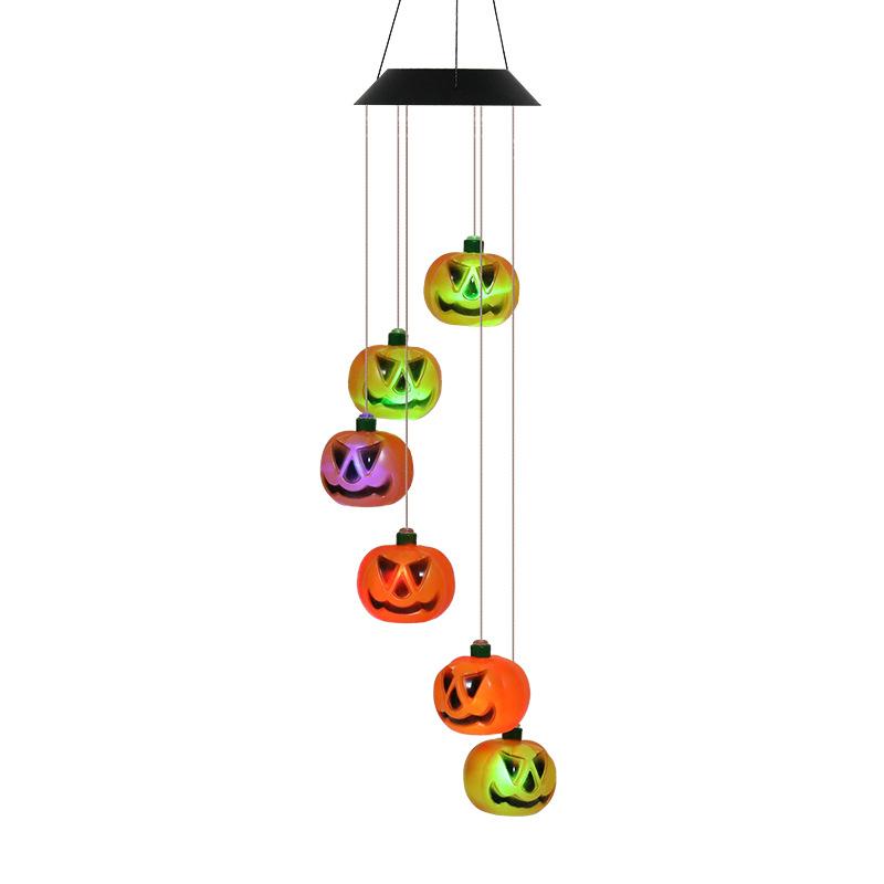 Halloween Decorative Props Led Solar Pumpkin Lantern Wind Chime Light Garden Decorations  Ornaments pumpkin
