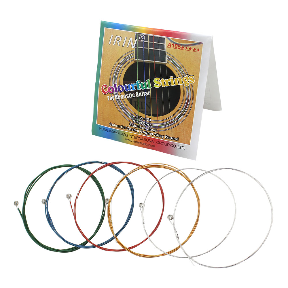 6Pcs Rainbow Colorful Guitar Strings E-A for Acoustic Folk Guitar Classic Guitar  A105