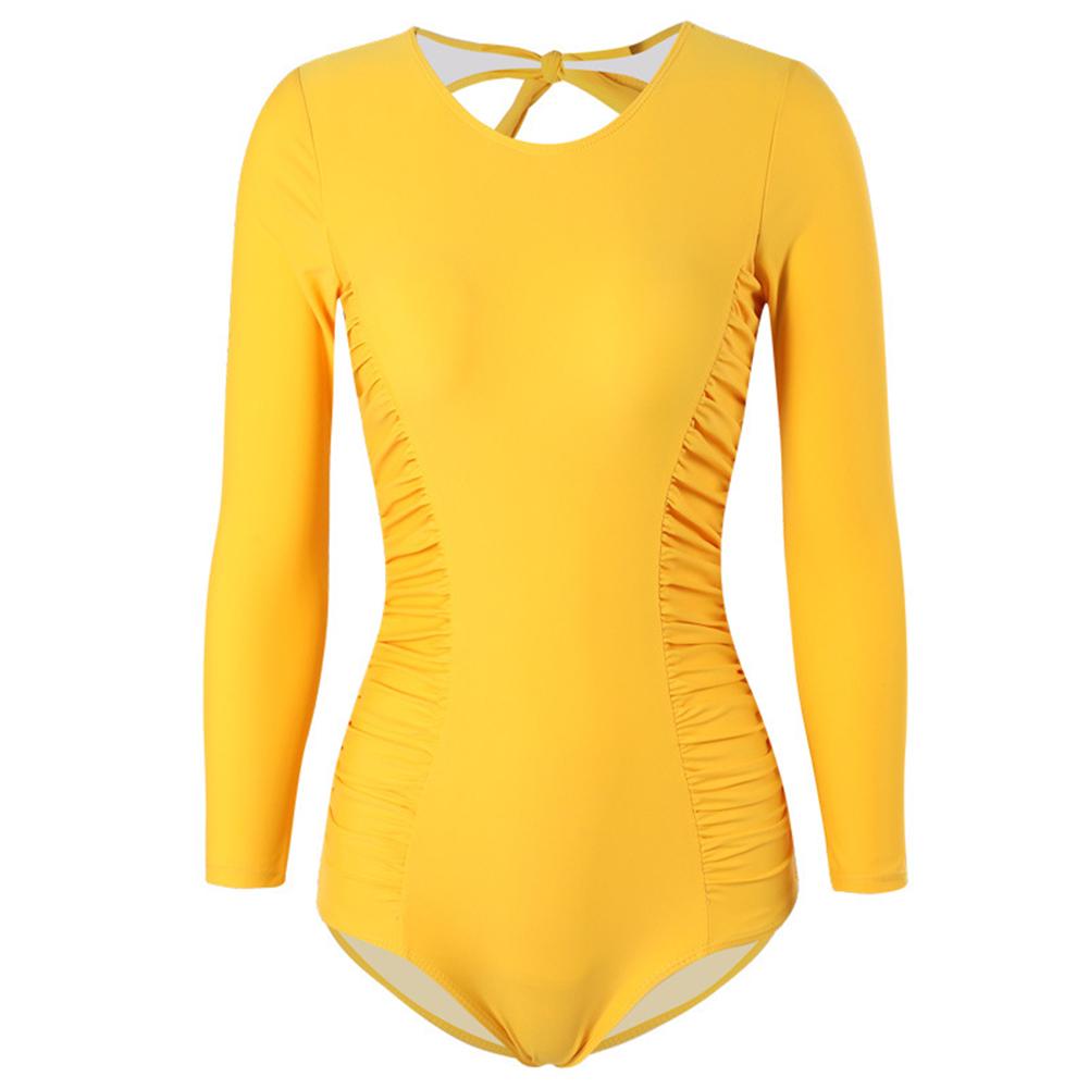 Women Swimsuit Nylon Yellow Slimming Long-sleeve Conservative Swimsuit yellow_M