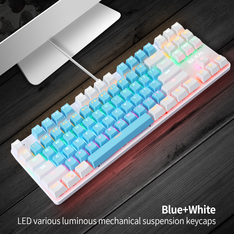 K100 Dual-color 87-key Usb Backlit Key Click Office Home Gaming Mechanical Keyboard Blue and white