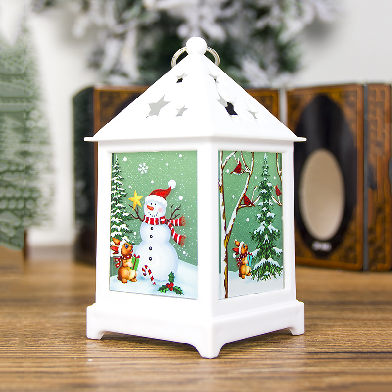 Christmas Decoration Pendant Painted Religious Christmas Small Lights Hollow Out Starry Ornament C white snowman