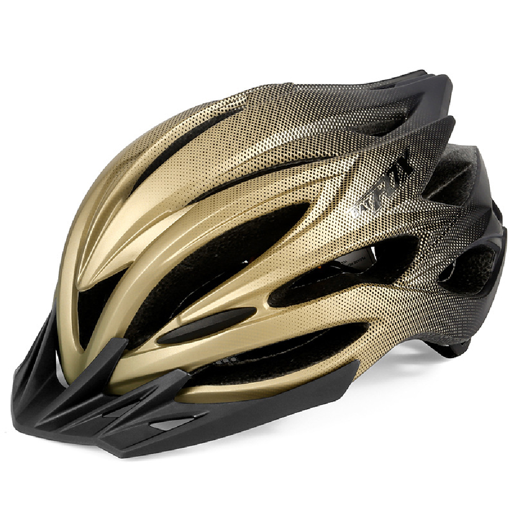 Bicycle Helmet Eps Mountain Bike Riding Helmet Skateboard  Safety  Helmet  With Light black gold_Free size