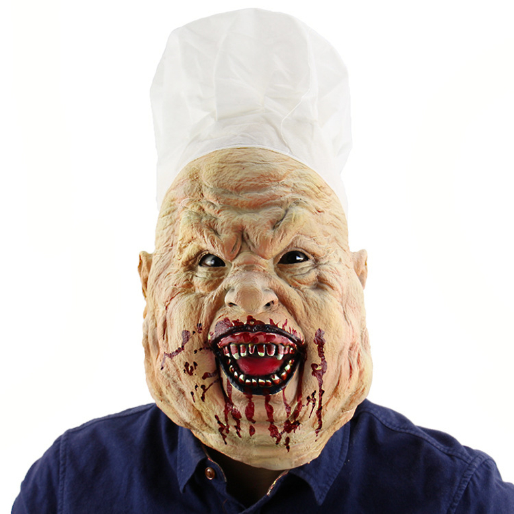 Halloween Chef Dressed up Prop Horror Butcher Latex Mask for Cosplay Accessaries One size