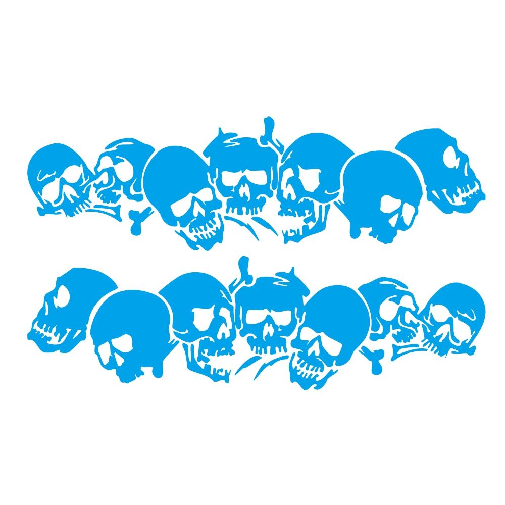 Skulls Bones Pattern Car Truck Vinyl Side Body Graphics Stickers Scratch Decal blue