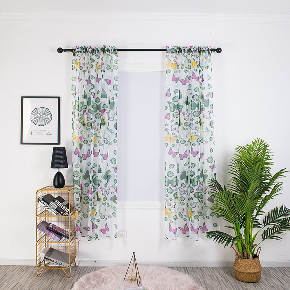 1PC 100*200cm Butterfly Printing Curtain Breathable Transmitting Drapes for Curtain Pole Style Green_1 * 2 meters high (90G)