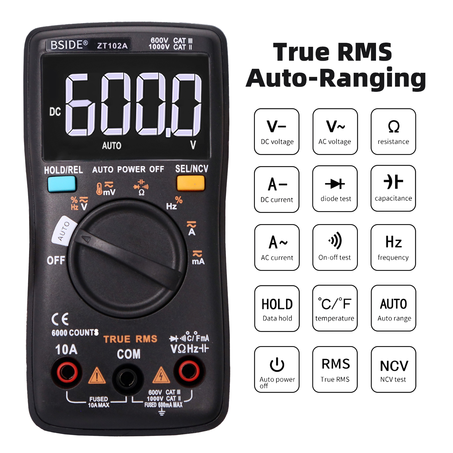 BSIDE ZT102A EBTN LCD Digital Multimeter TRMS AC/DC Voltage Current Temp Ohm Frequency Diode Resistance Capacitance Tester ZT102A