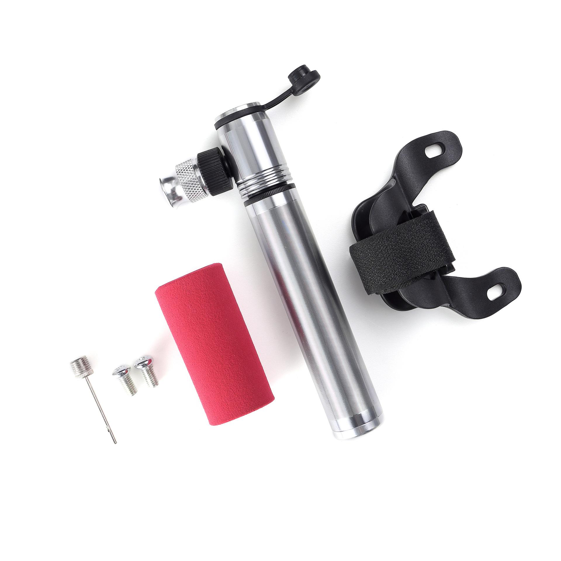 Mini Portable Bicycle Air Pump Air needle + Bracket + Screw Pumping Tool  Silver
