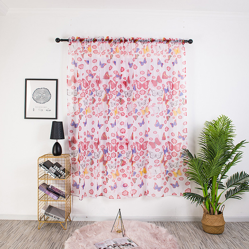 1PC 100*200cm Butterfly Printing Curtain Breathable Transmitting Drapes for Curtain Pole Style Red_1 * 2 meters high (90G)