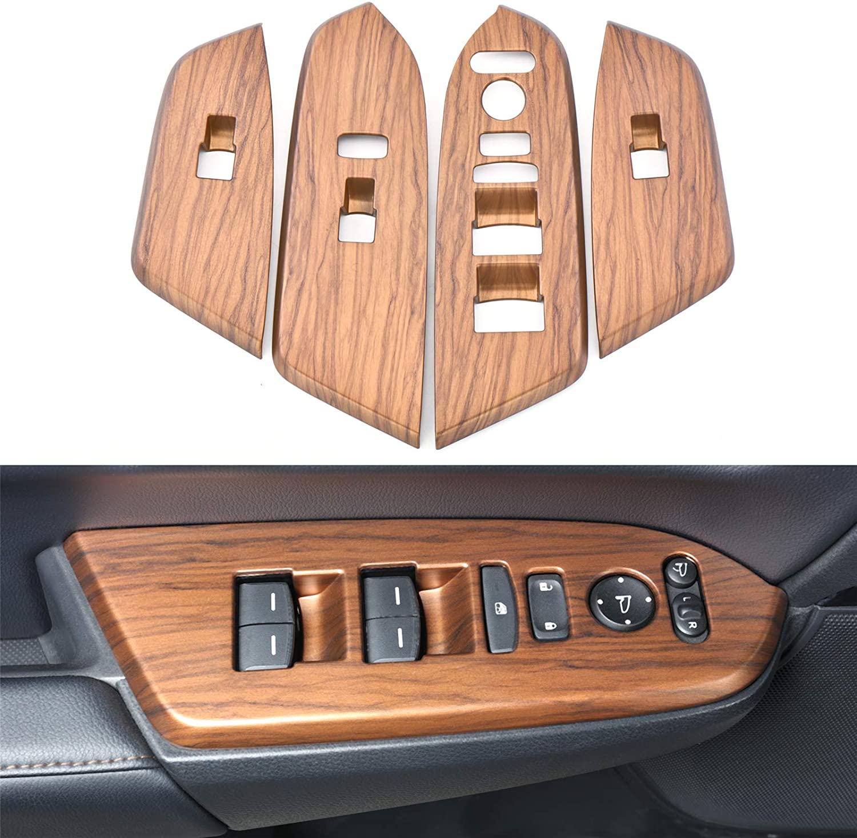 4pcs Peach Wood Grain Inner Window Switch  Panel  Cover For Honda Crv Cr-v 2017 2018 2019 2020 2021 Original wood grain_4 piece set of handrail panel (with bottom)