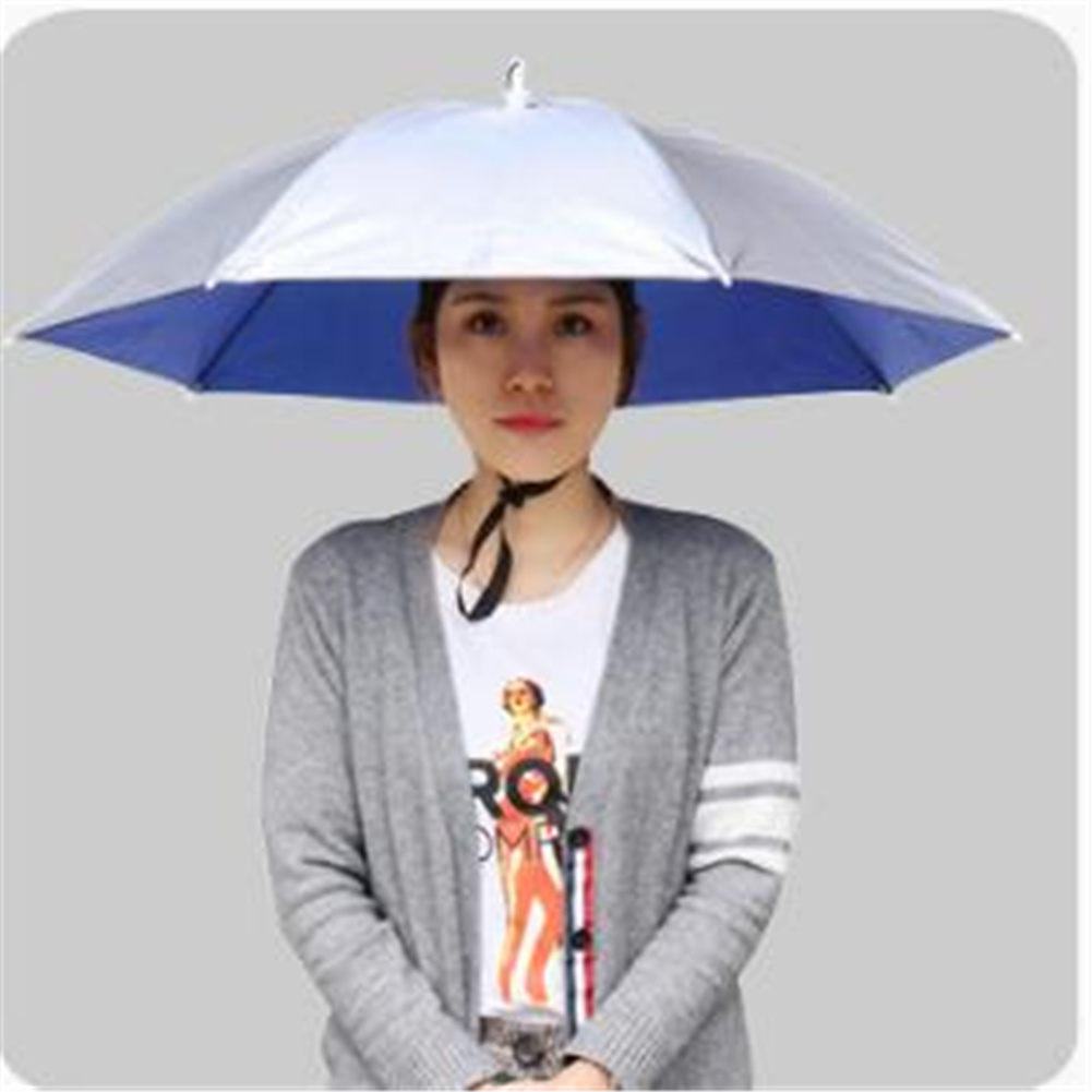 77cm Head-mounted Sunshade Umbrella Fishing Hat Umbrella Sunscreen Rain Outdoor Fishing Umbrella Large silver gray_77cm