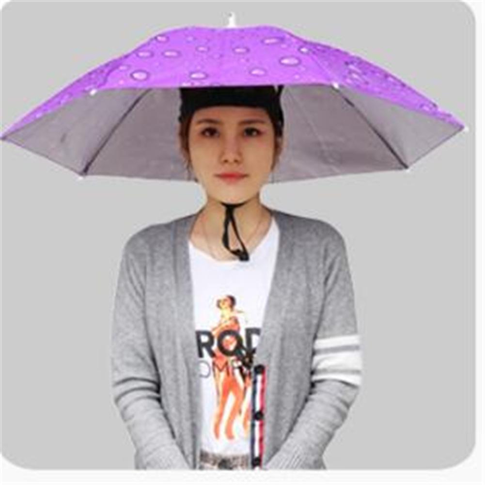 77cm Head-mounted Sunshade Umbrella Fishing Hat Umbrella Sunscreen Rain Outdoor Fishing Umbrella Large raindrop purple_77cm