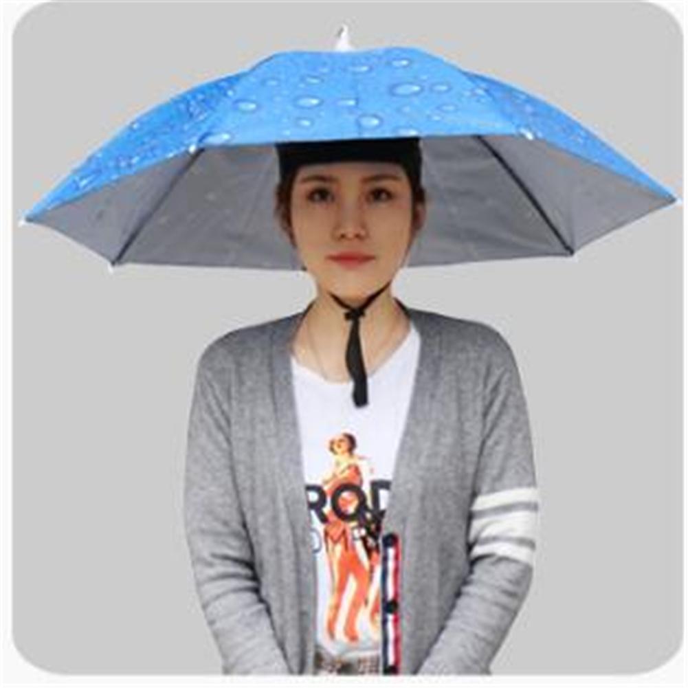 77cm Head-mounted Sunshade Umbrella Fishing Hat Umbrella Sunscreen Rain Outdoor Fishing Umbrella Large raindrop sapphire blue_77cm