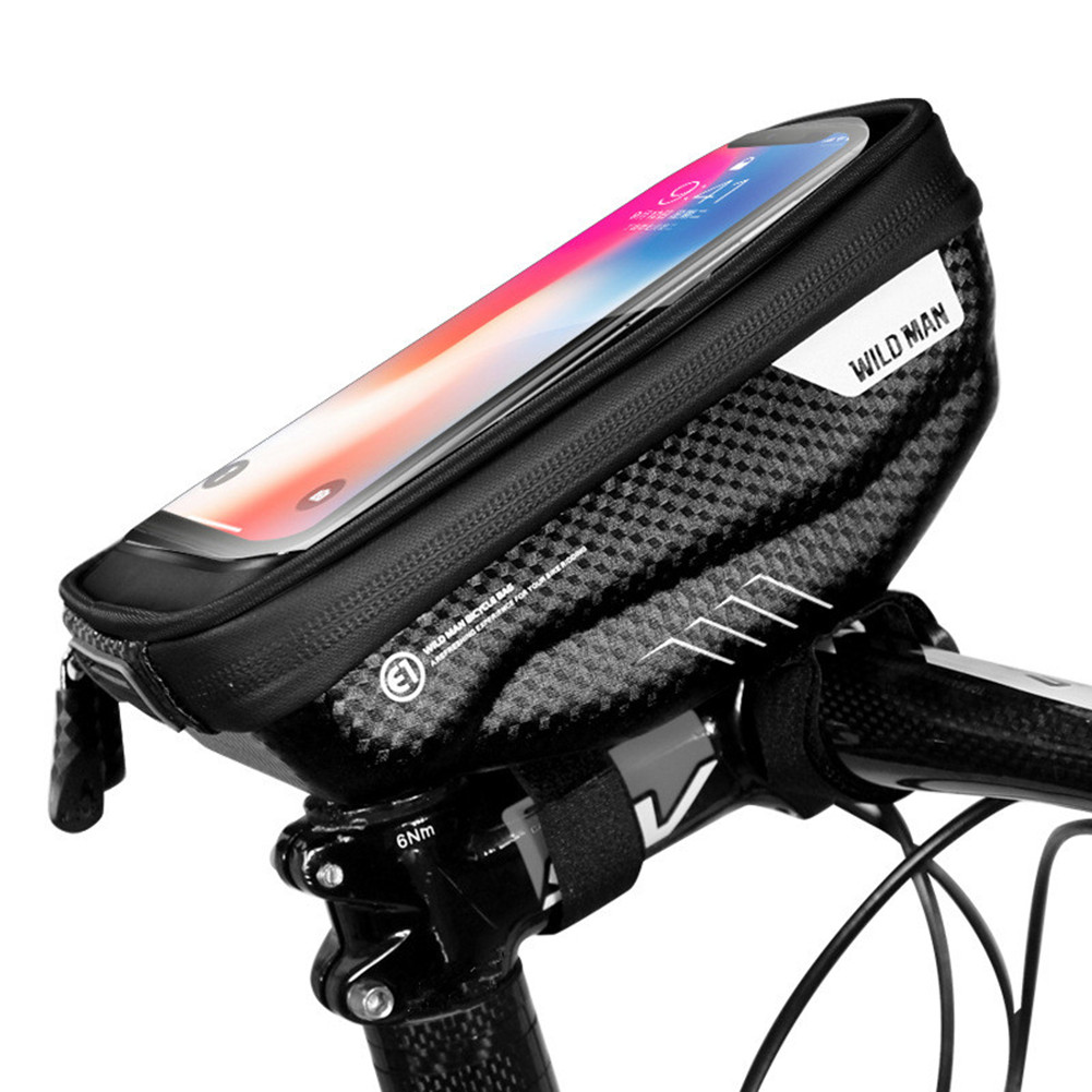 Bicycle Hardshell Front Beam Touch Screen Bag Waterproof Mobile Phone Bag black_1L capacity
