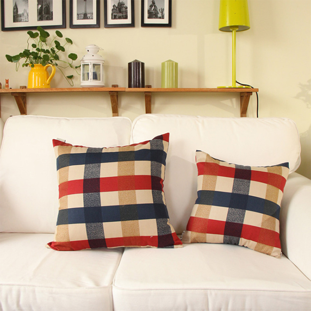 Thicken Red Blue Beige Large Grid Home Cotton Cover for Decor