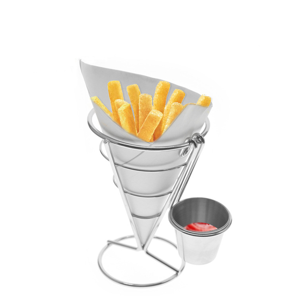 Cone Snacks Display Stand Fries Baskets Frying Rack with Cup Single cup