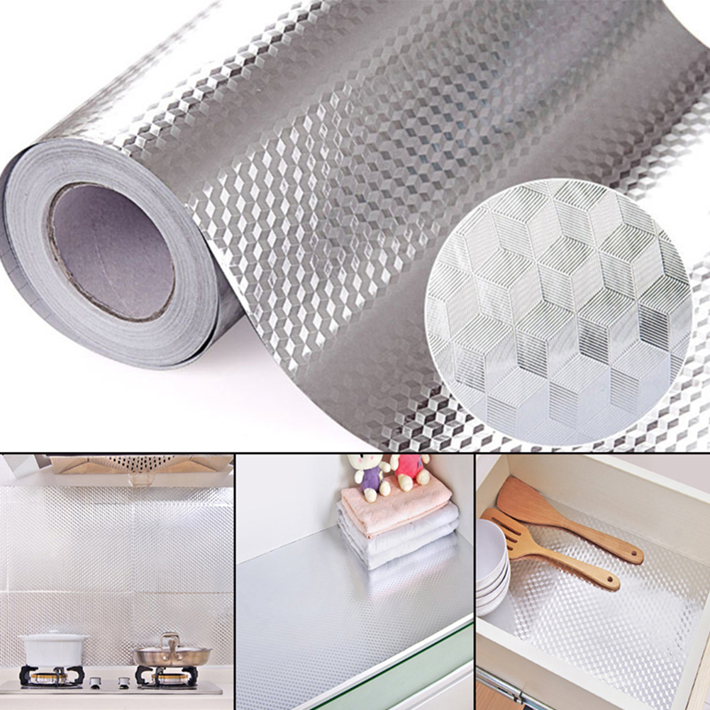 2/3/5M Aluminum Foil Self Adhesive Waterproof High Temperature Resistance Kitchen Stickers for Stove Cabinet Diamond 40 cm * 2 m