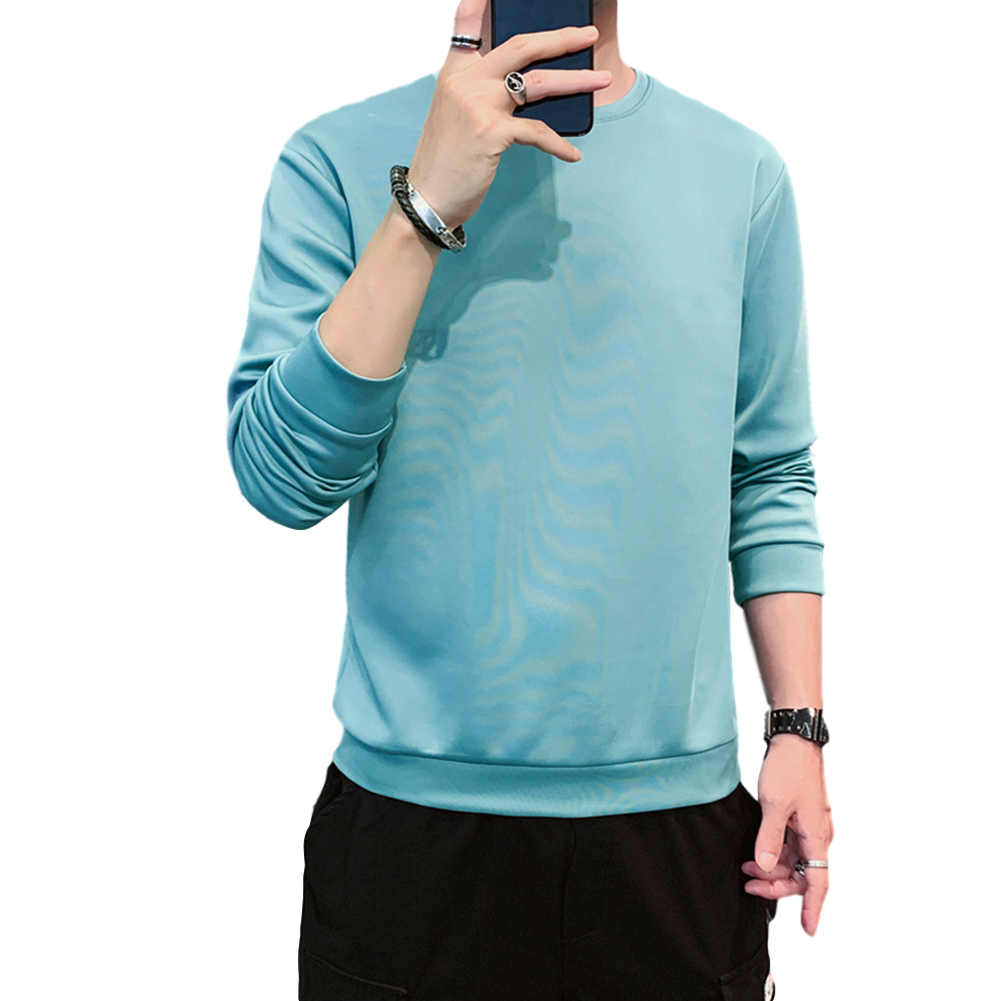 Men's Sweatshirt Round Neck Long-sleeved Solid Color Bottoming Shirt Lake blue_XXXL