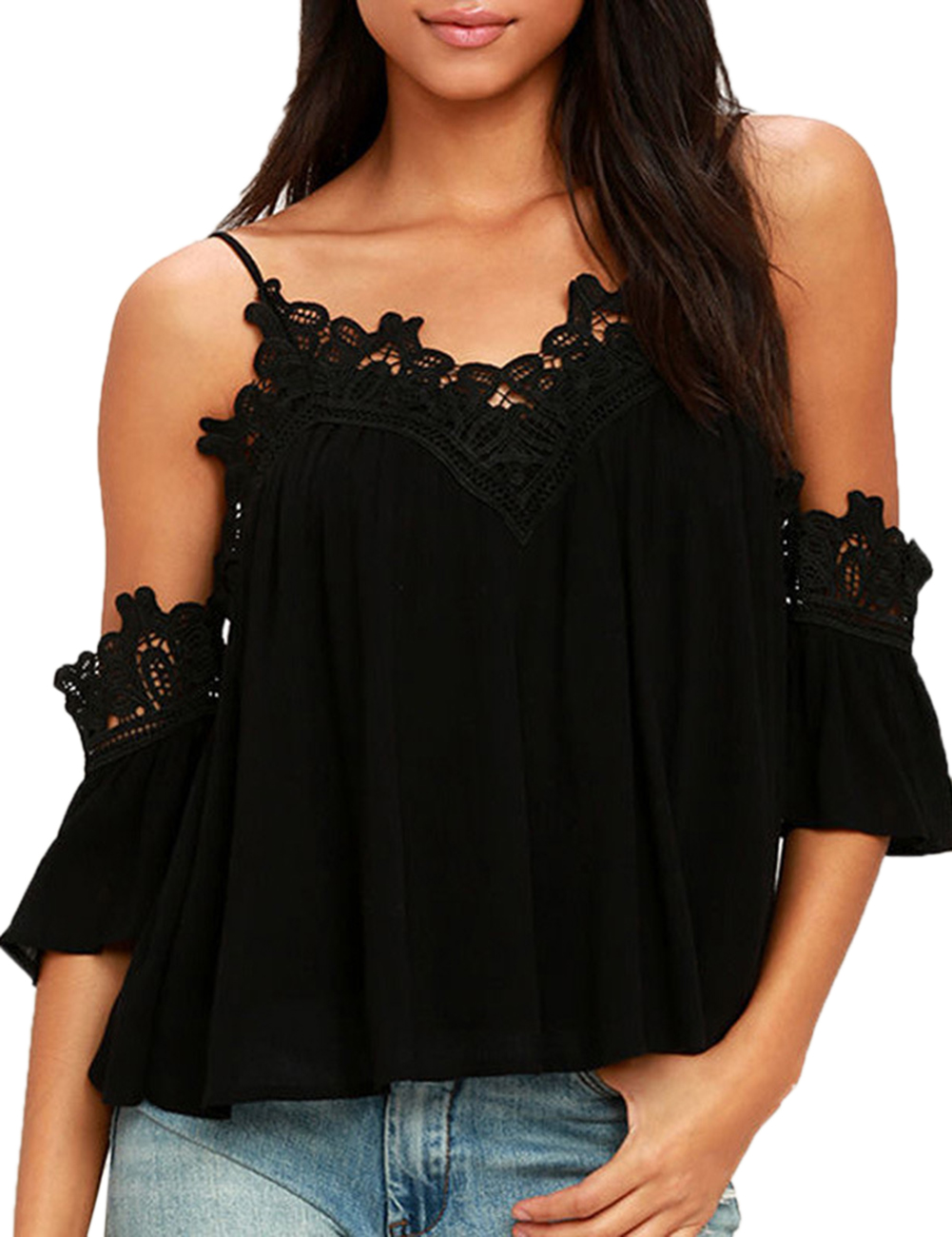 Women Lace Sun-top Off-shoulder Braces Shirt Tops Gift Sexy Beach Party Outfits Home Wear