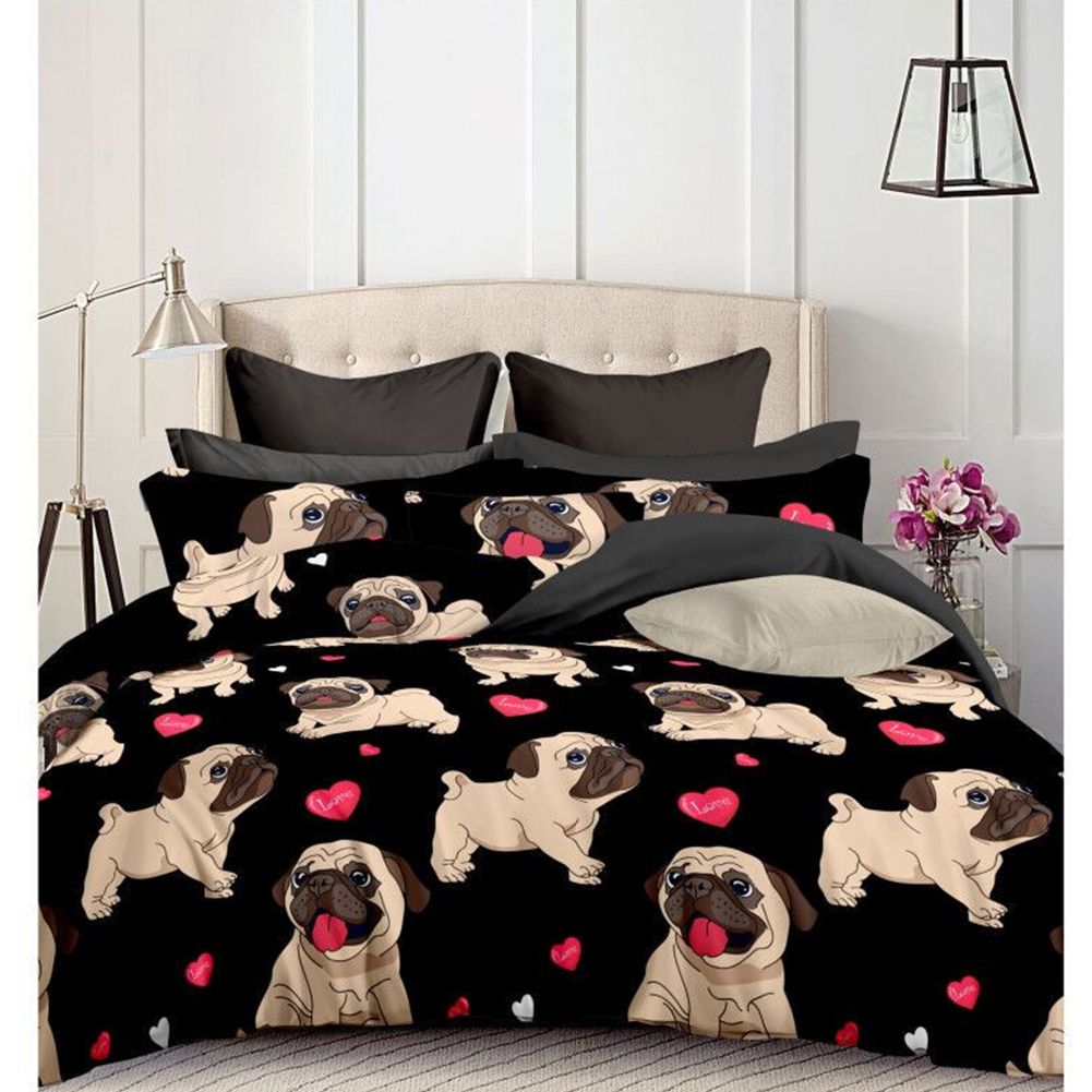 Bulldog Printed Bedding Set Duvet Cover+Pillowcase Set 2/3Pcs(No Sheets) Bulldog black