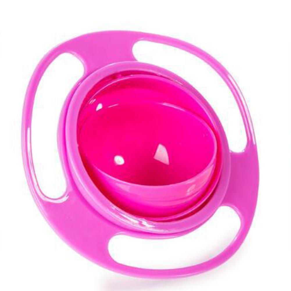 360 Degree Rotary Gyro Shape Balance Bowl for Kids Infant Bbay Feeding Rose red