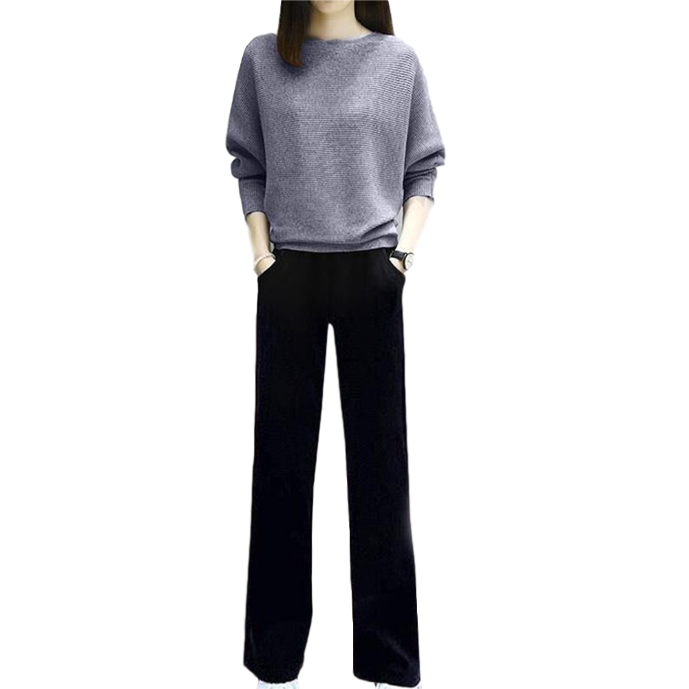Women's Suit Autumn Solid Color Knitted Casual Loose Large Top + Pants gray_M