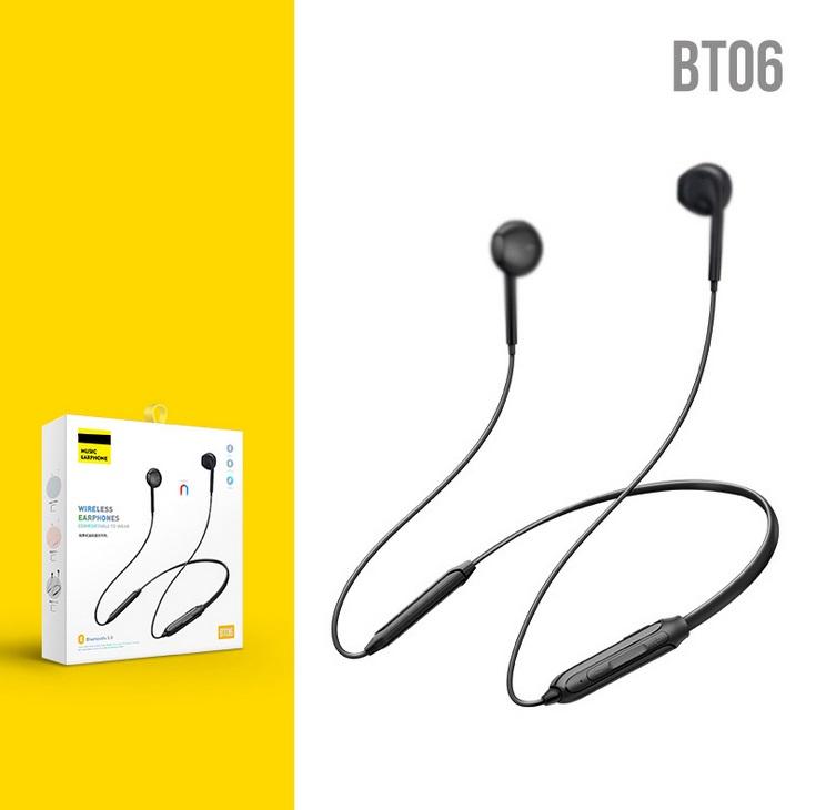 Wireless Bluetooth 5.0 Sports Headset Stereo Heavy Bass Hanging Neck Bluetooth Headset Black