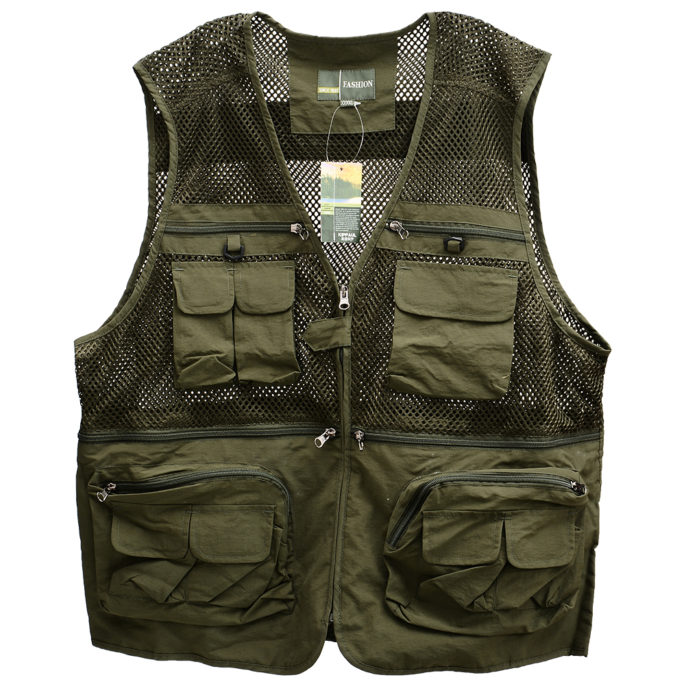 Men's Outdoor Sports Photography Fishing Multi Pocket Zipper Casual Loose Mesh Vest Army green_XL