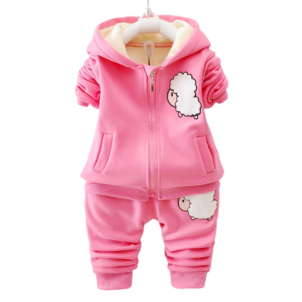 Children Simier Two-piece Suit Cartoon Long Sleeve Long Pants Outdoors Suit for Kids Winter lamb rose_90cm