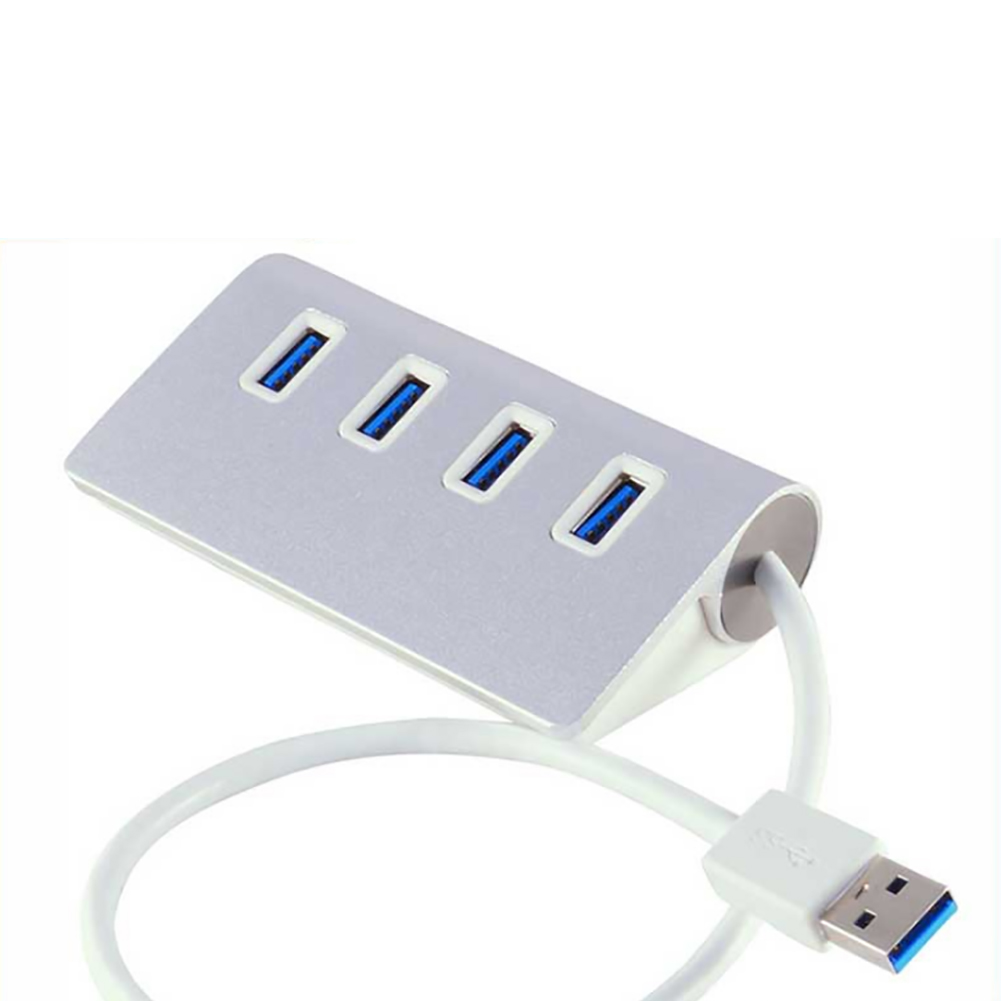 Mini Portable 4 Ports Aluminum Alloy USB Distributor Connector High Speed 3.0 Multiple HUB Splitter Adapter for Hard Drive Laptop Computer Cellphone Camera Silver