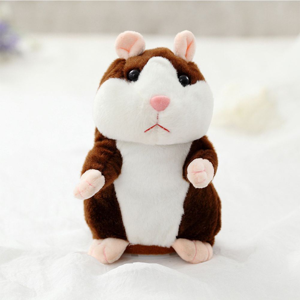 Talking Plush Hamster Toy bright brown 18cm