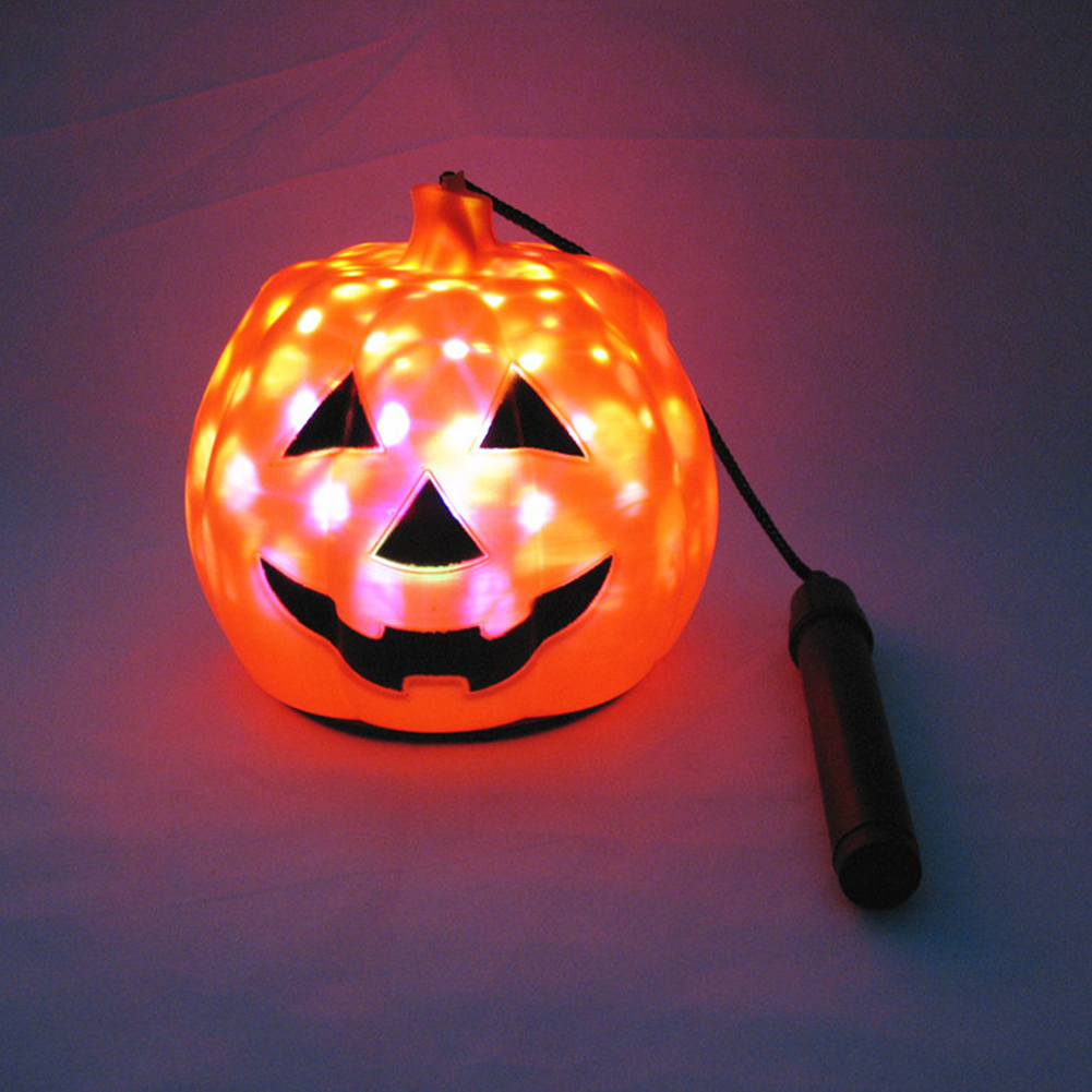 Kids Rotating LED Starry Effect Pumpkin Lamp with Sound for Halloween Decoration 14 cm music
