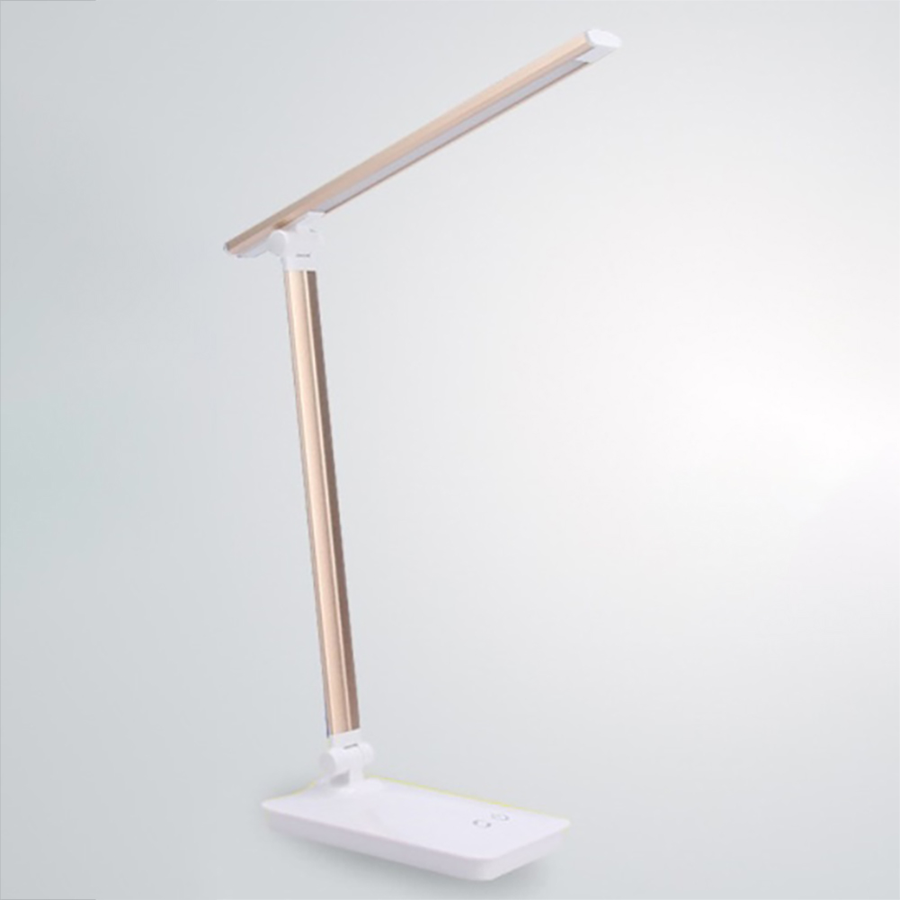 LED Desk Lamp Eye-caring Table Lamps Dimmable Office Lamp with USB Charging Port Night Light Gold_Plug-in model + usb cable + charging head