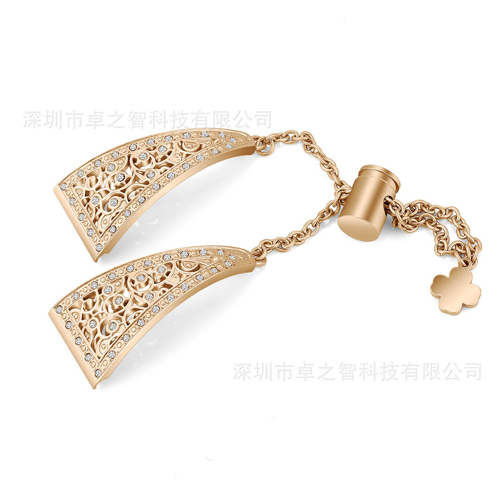Flower Shape Metal Diamante Watch Strap for Samsung Galaxy Watch Active 2/42mm/46mm 22MM rose gold