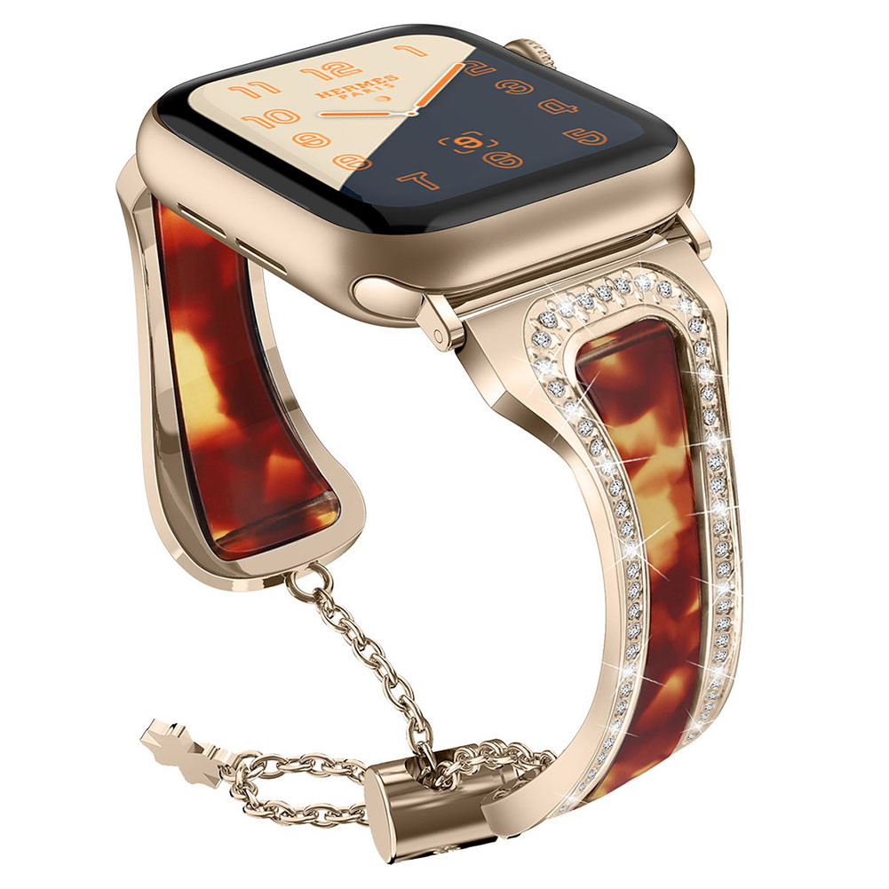 Metal Stainless Steel Resin Watch Strap for apple watch1/2/3/4 Generations Twilight + vintage gold 38mm