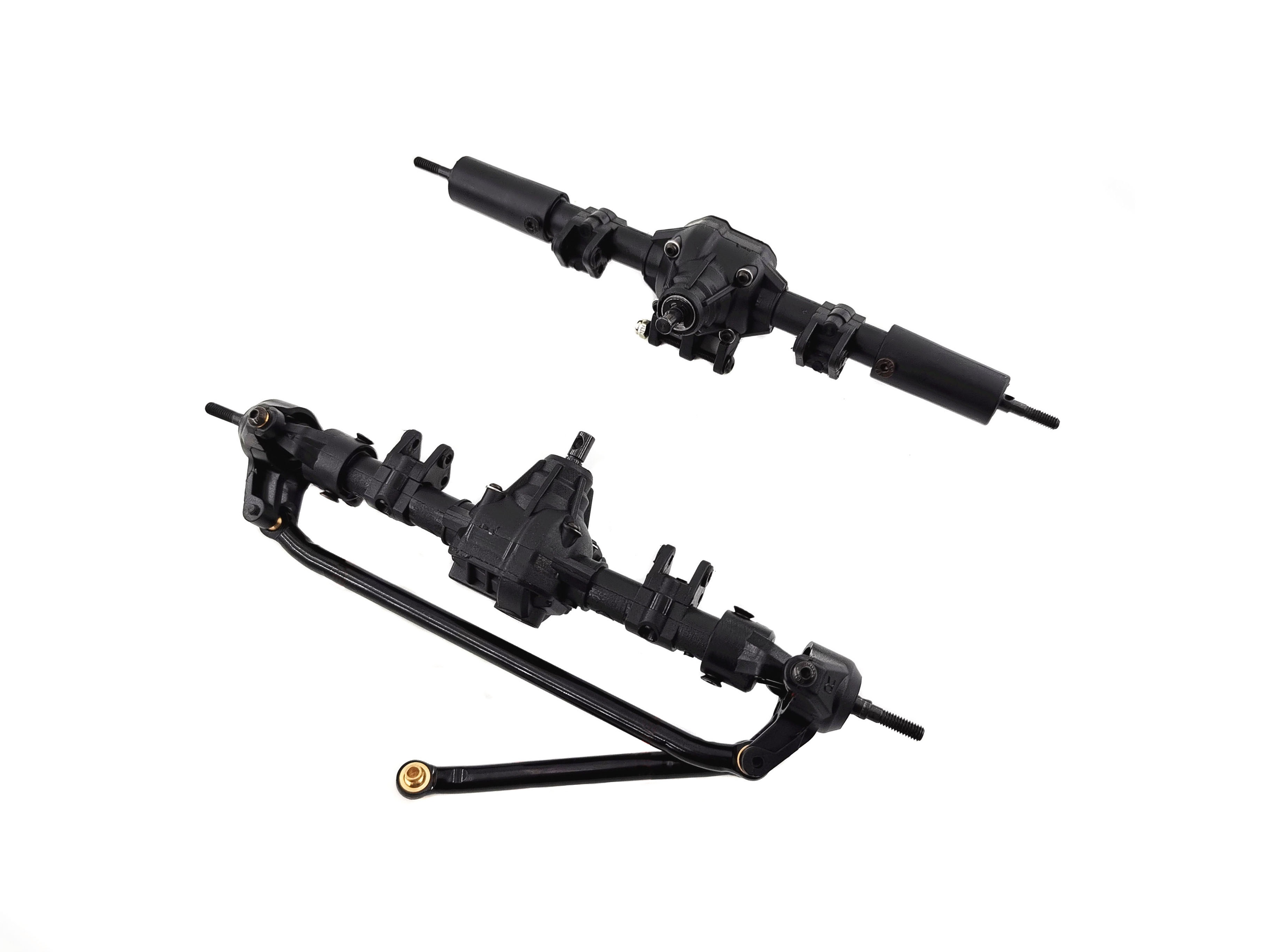 1/10 RC Car Front & Rear Bridge Axle Shaft Transmission Bridge with Differential for SCX10 SCX10 II 90046 90047 313mm 12.3in Wheelbase Assembled Frame Chassis With differential_Front and rear axles