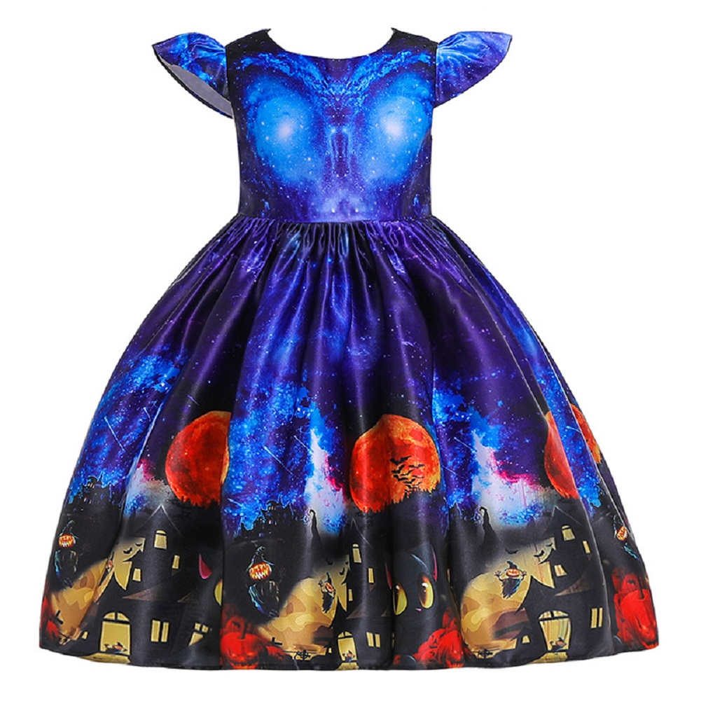 Girl Kids Full Dress Princess Style Stage Costume for Halloween Christmas Formal Dress  WS003-blue_100cm