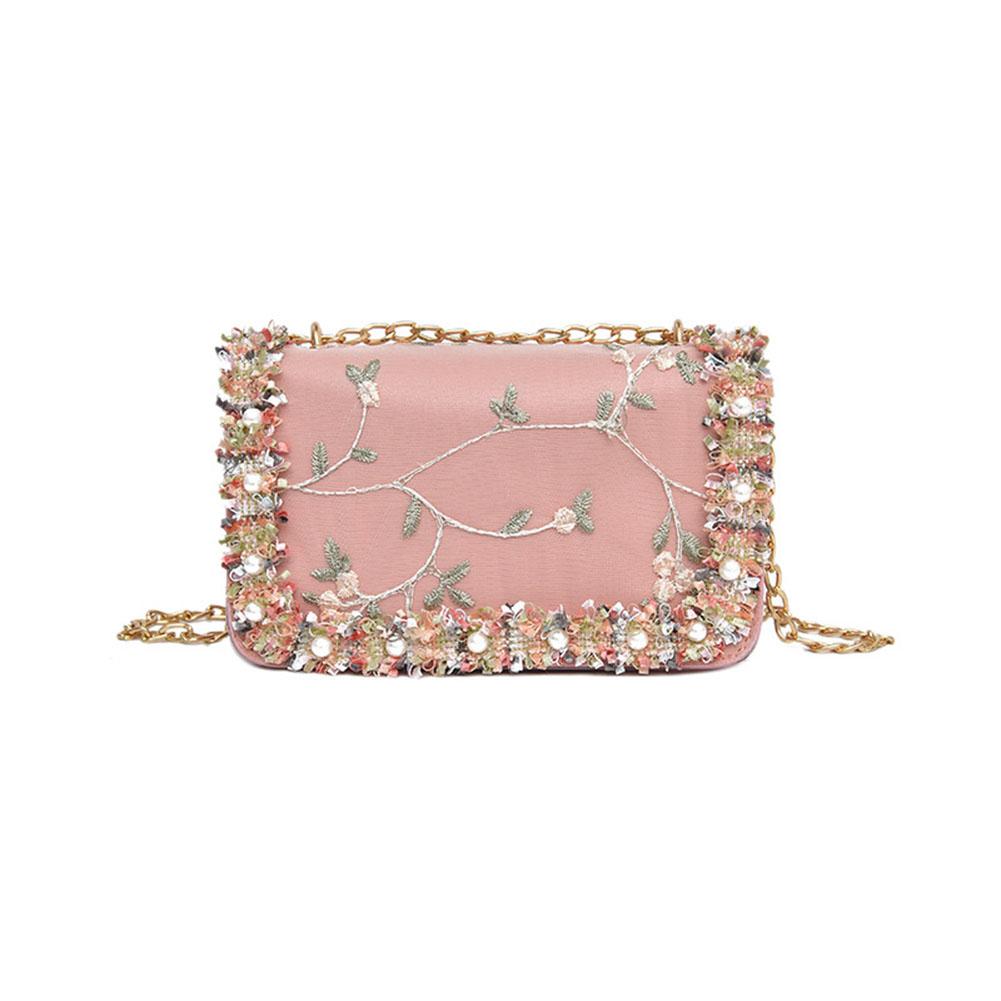 Women Elegant Lace Flowers Single Shoulder Bag Portable Casual All-match Chain Bag