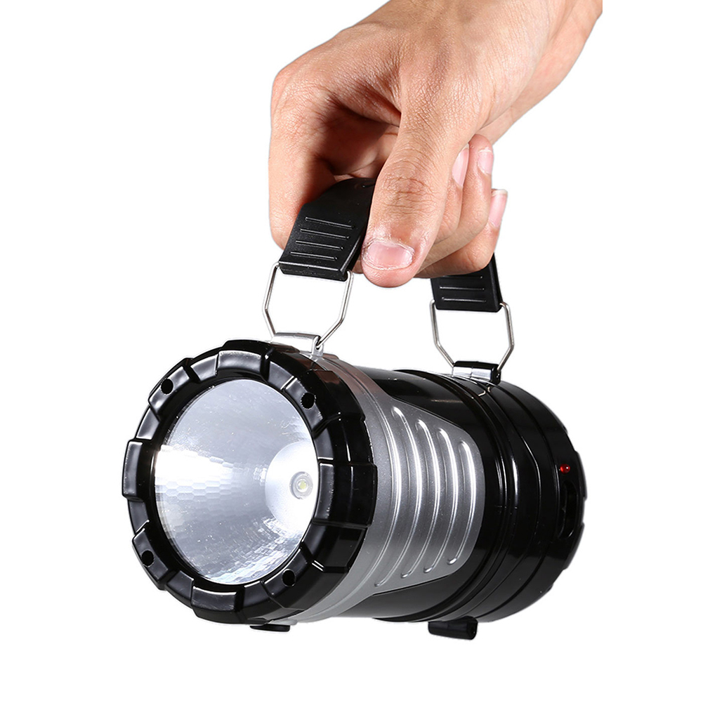 Portable Lantern LED Solar Powered Tent Light Outdoor Collapsible Lamp Flashlight Torch for Camping Hiking black