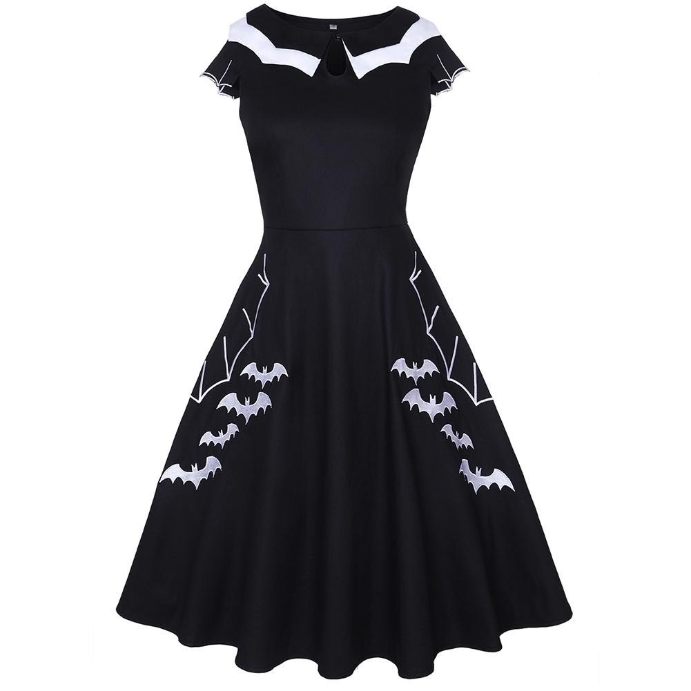 Female Fashion Dress Bat Embroidery Short Sleeve Round Collar Dress  black_XXXL