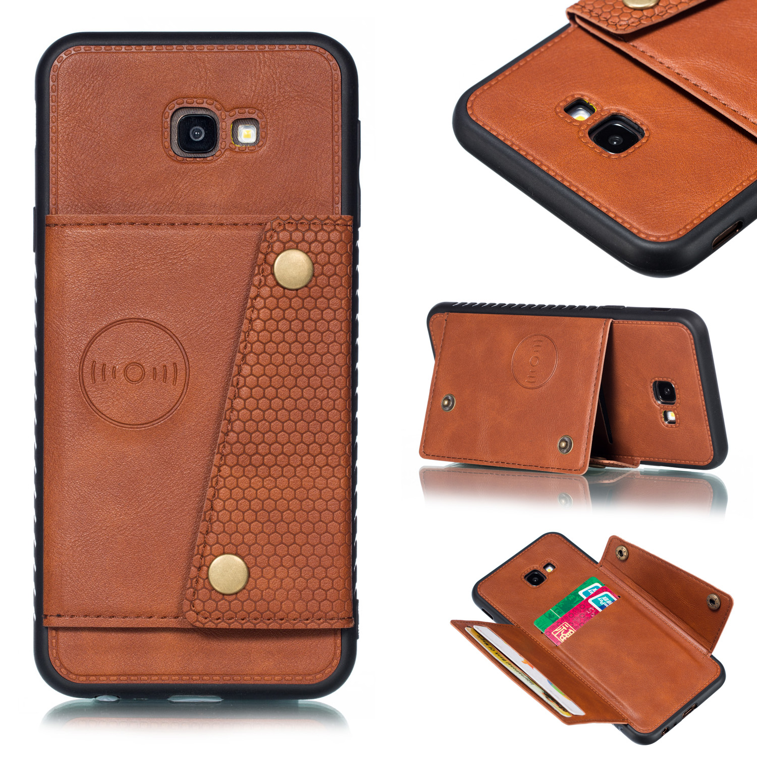 For Samsung J4 PLUS PU Protective Phone Back Case with Card Slot Bracket Light Brown