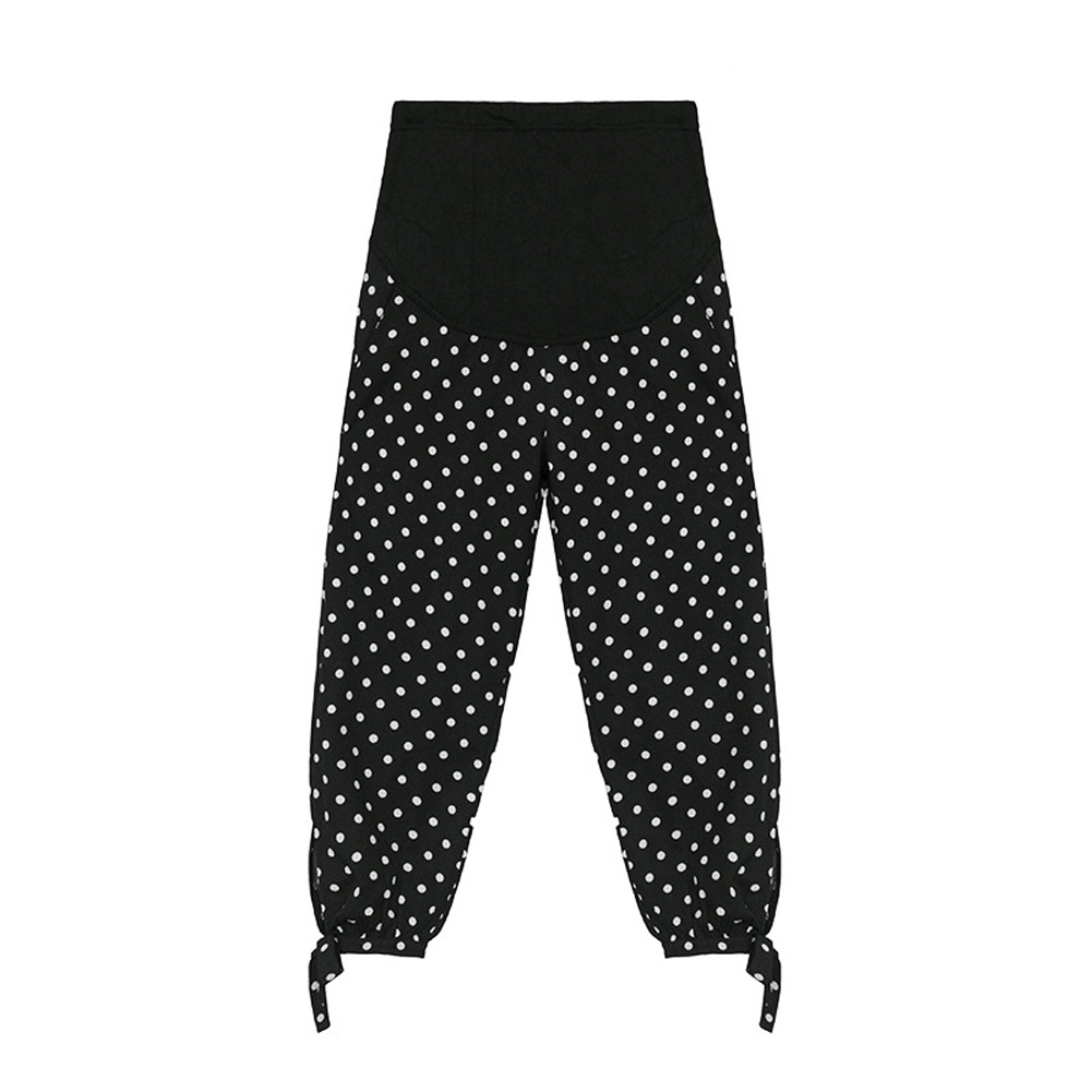 Women Maternity Pant Pregnant Abdominal Support Dot Printing Knicker Black dots_XL